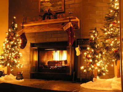 Christmas trees and fireplace