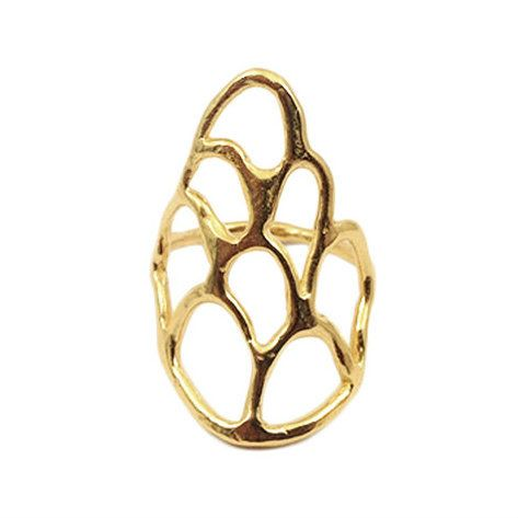 Visibly Interesting: Inspired by the sea. Abstract open weave scale pattern ring in 14k Gold plate over Brass by Merewif