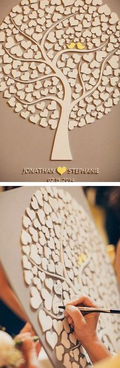 Love tree wedding decoration! A great way to frame the beautiful messages written by family and friends. For more wedding decoration ideas, check out our board.