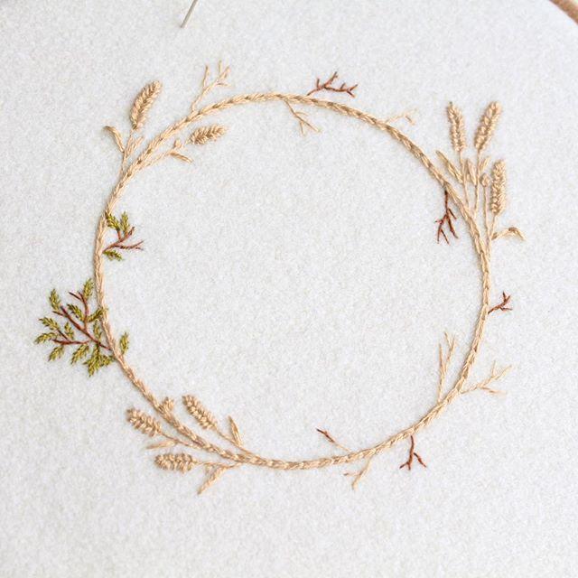 Autumn/harvest wreath in progress 🍂 #wip #embroidery