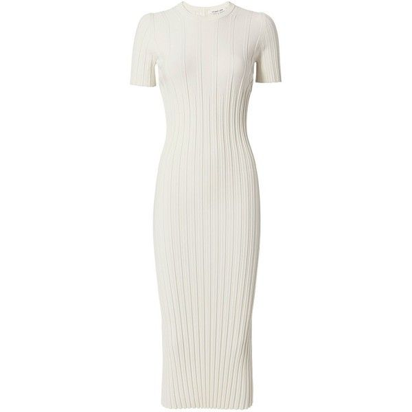Helmut Lang Women's Ivory Knit Midi Dress (2,430 CNY) ❤ liked on Polyvore featuring dresses, vestidos, ivory, slimming dresses, short sleeve dress, ivory dress, short-sleeve dresses and white day dress