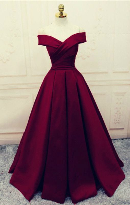 Amazing Stylish 2018 Ball Gown Off Shoulder Satin A Line Burgundy Evening Dress With …