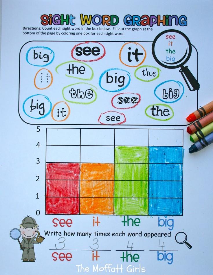 Sight Word GraphingIdeas, Moffatt Girls, Kindergarten Sight Words, Math Literacy, Math Graph, Words Work, Languages Art, Words Graph, Math Skills