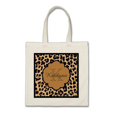 Monogram Leopard Print Custom Tote Bag #monogram #personalised #custom #named #gifts #cosmetic #makeup #beauty