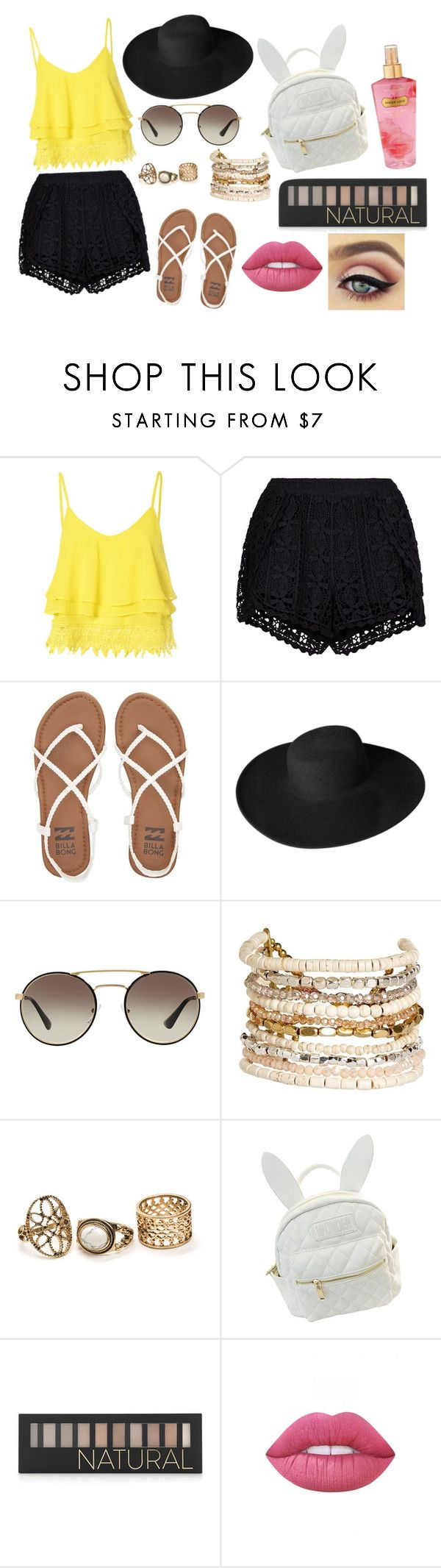 """""""Playa por la Noche"""" by clarisaguerra-243 ❤ liked on Polyvore featuring Glamorous, New Look, Billabong, Dorfman Pacific, Prada, Panacea, cutekawaii, Forever 21, Lime Crime and Victoria's Secret"""