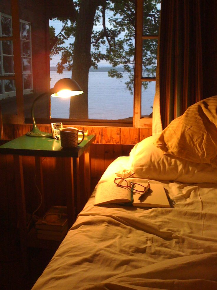The comfort of the cabin bed and a good book. Listen to the sounds at the lake at night. Watch the fireflies twinkle.