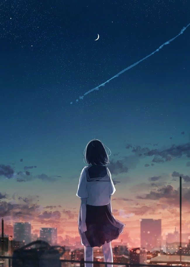 Anime Landscape And Sky Crescent Girl Pemandangan Animasi