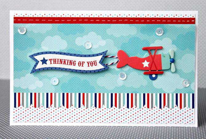 Doodlebug Design Inc Blog: Patriotic Parade Thinking of You airplane card by Candace Zentner.