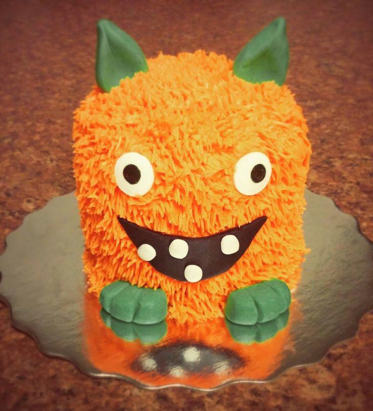 Little orange monster smash cake