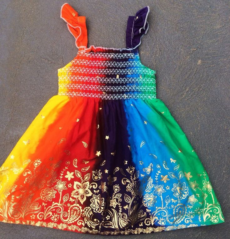 Rainbow Butterfly Dress-Hand-Dyed. Size 6-   Will stay Vibrant! Happy Dress!!!!!