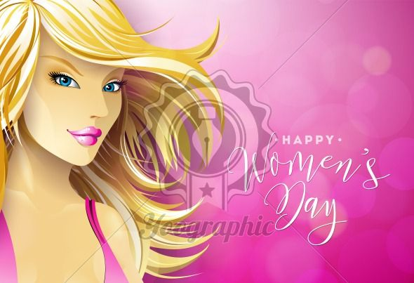 Happy Womens Day Greeting Card Design with Sexy Blondie Young Woman. International Female Holiday Illustration with Typography Letter Design on Pink Background. Vector International 8 March Template. - Royalty Free Vector Illustration