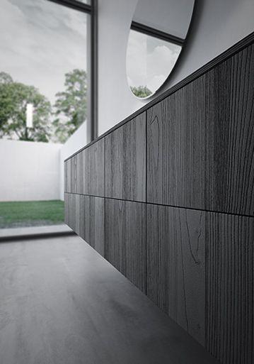 Sense by Aqua in black Teak Wood with basin and mirror idea group