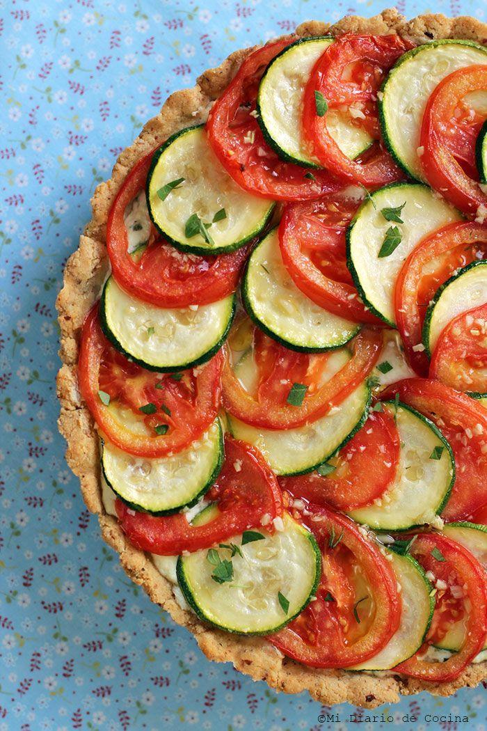 Tarta de zapallo italiano y tomate