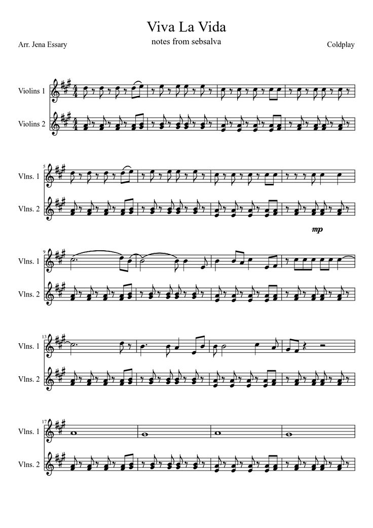 Viva la Vida Coldplay music sheet for violin