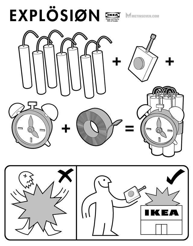 Explosion ikea parody manual