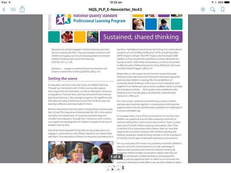 NQS PLP e newsletter:Sustained shared thinking-PDF in iBooks