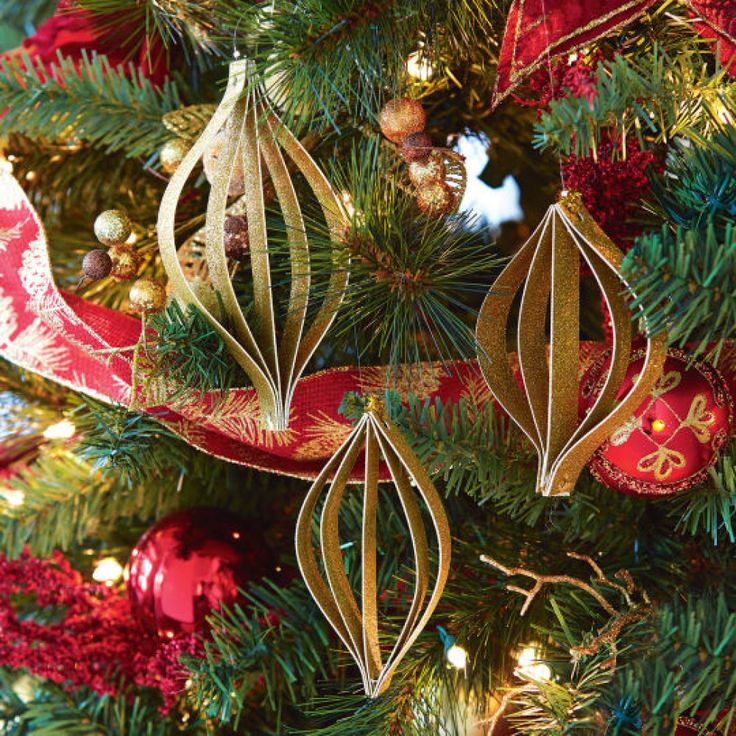 Diy gold glitter paper ornaments in store holiday for Michaels christmas tree ornaments