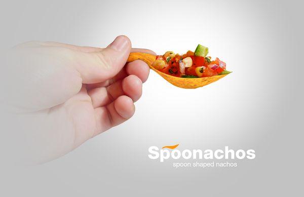 Spoonachos™ - Spoon Shaped Nachos on the Behance Network: Potatoes Chips, Tortillas Chips, Nachos, Creative Packaging Design, Spoonacho, Design Galleries, Design Concept, Industrial Design, Dips