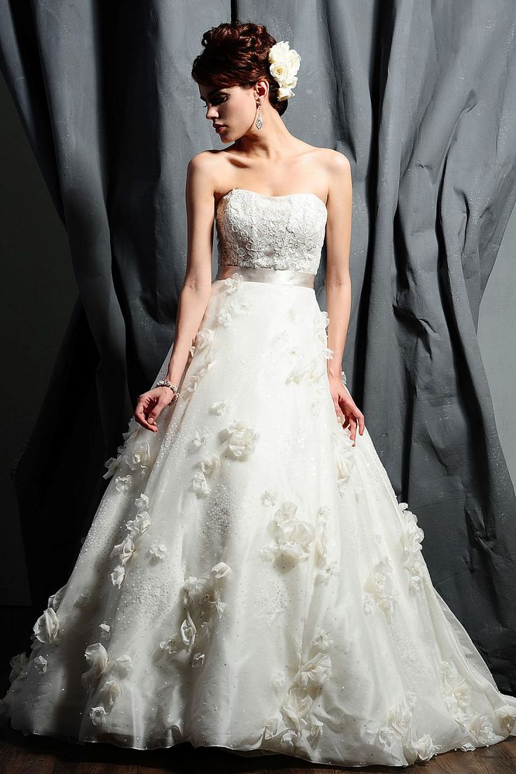 I love the bodice and the floral appliques. It's so romantic looking.