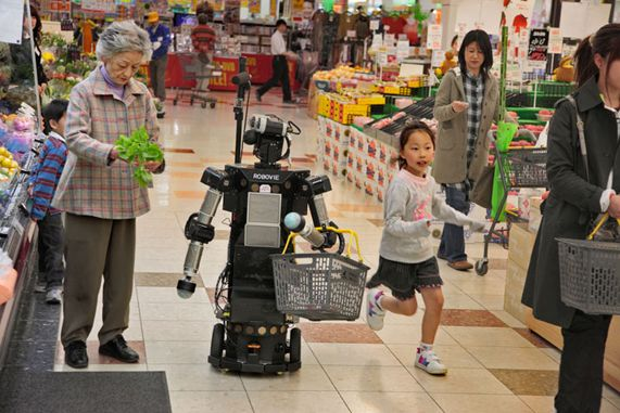 Real robot help a japanese grandma to do their shopping ...