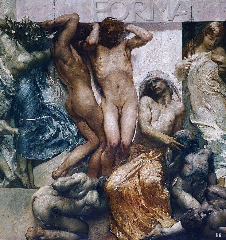 Detail : Allegories of the History of Italy. Giulio Aristide Sartorio. Italian 1908-1913. encaustic on canvas.