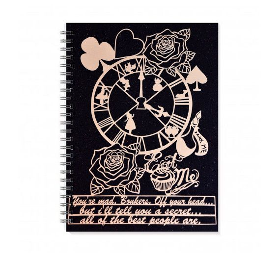 Alice in Wonderland Journal - Personalized Sketchbook - Papercut Illustration - notebook - Am I Going Mad