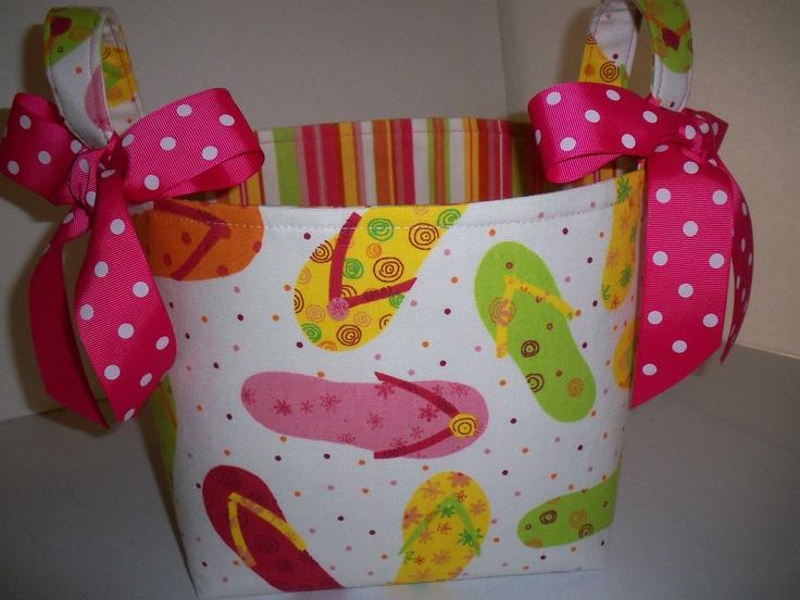 flip flop fabric | Flip Flops Waverly fabric Organizer Bin / by BridgetsStitches
