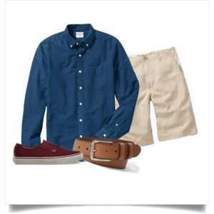 Polyvore: Navy OCBD, stone shorts, tan leather belt, burgundy Vans.