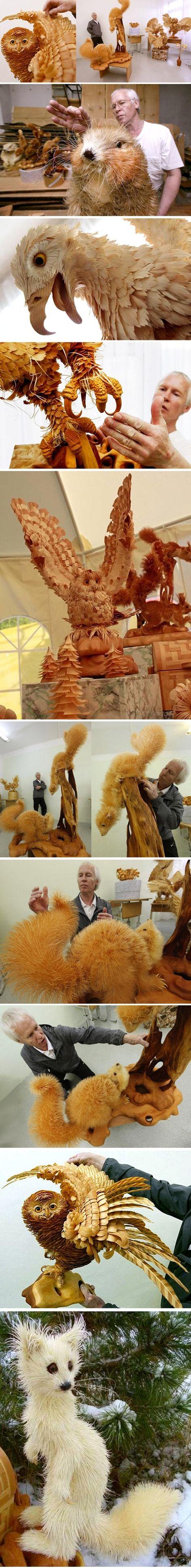 wood shaving animals... - (sculptures) - #woodshavings #wood #shavings #animals #sculptuers