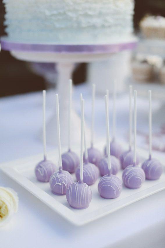 Lavender cake pops. Bake Them Pretty. Photography: Svetla Vesnaya At Purple Tree Photography - purpletree.ca  Read More: http://www.stylemepretty.com/canada-weddings/ontario/toronto/2014/01/24/lavender-wedding-inspiration-at-weirs-lane-lavender-farm/