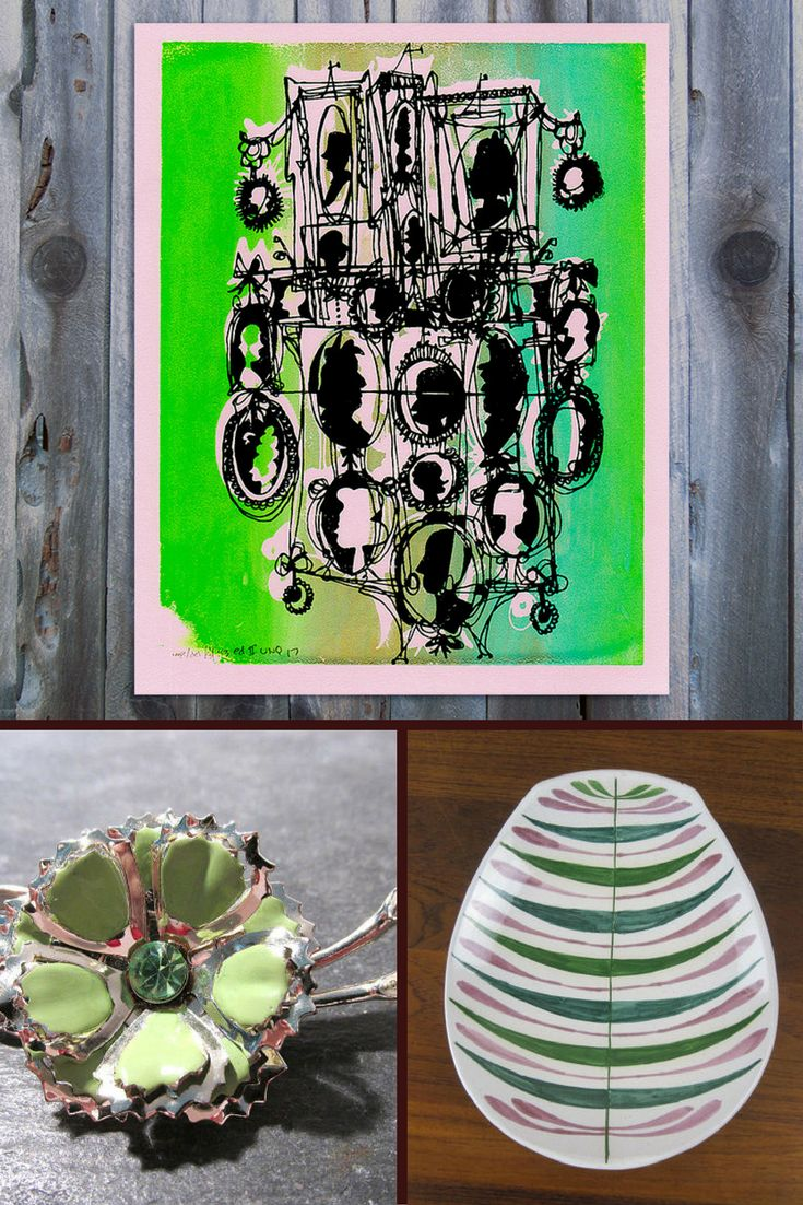 This:That : my Cameo silkscreen print : vintage Scandinavian platter from cammoo : vintage enamel pin from punksrus