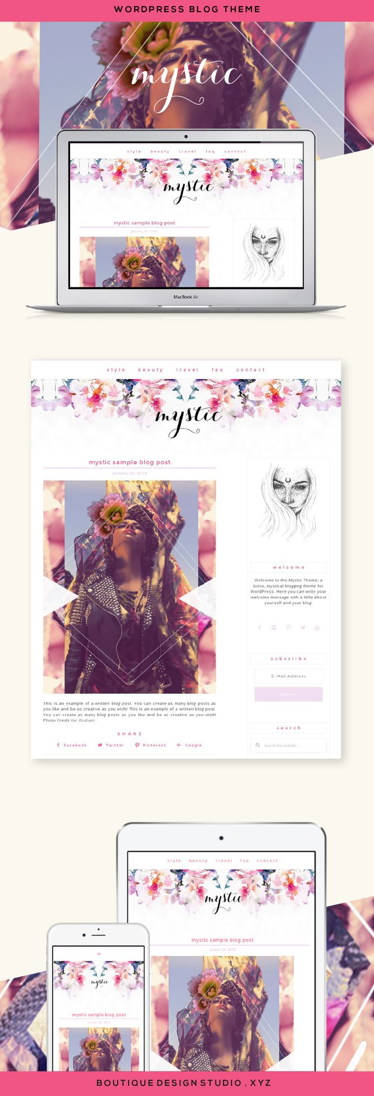 Mystic Wordpress Theme By Boutique Web Design Studio Ideal For A Fashion Personal Blog