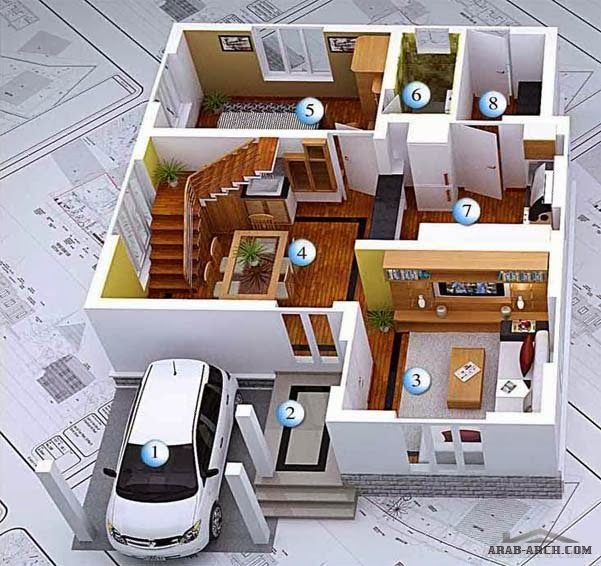 Home Design 3d Two Storey: 3D Modern House Plans Collection