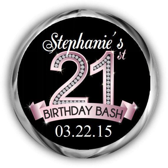 Diamond 21st birthday hershey kisses stickers personalized birthday sticker