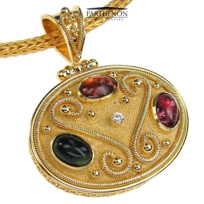 Damaskos 18k Solid Gold Byzantine Handmade Oval Pendant, Tourmaline #Damaskos #Pendant