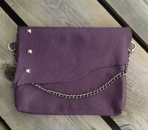 Eggplant Purple Leather Dinner Clutch with 3 Silver Metal Pyramid Studs Embellishing the Raw Edge Flap by HeartnSoulHandbags, $105.00
