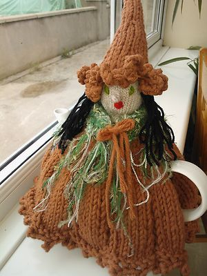 Hand knitted witch tea cosy - halloween