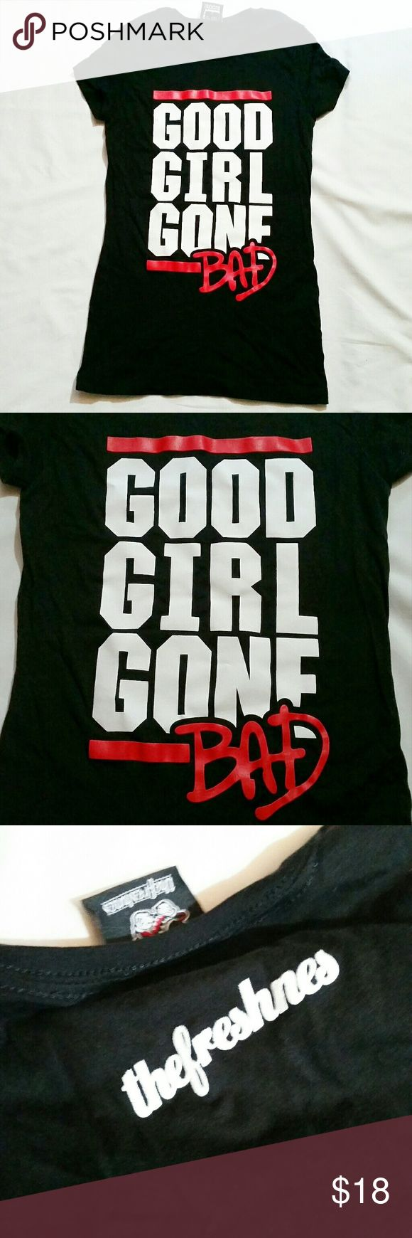 """""""Good girl gone bad"""" graphic tee Black jersey t shirt with DMC-style graphic saying """"good girl gone bad,"""" the title of an album and song by Rihanna.  """"Bad"""" is done in a handwritten style in red, a la the Michael Jackson album cover. Super cool shirt with cleverly mixed pop culture references, great for a street style look.  The black of the shirt is still deep and vibrant - no fading. I don't think I ever wore it, but can't say for sure.   26"""" from shoulder at the neckline down to the hem…"""