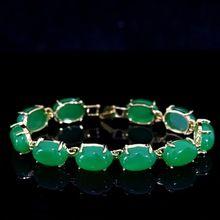 "US $7.45 Fashion Semi-precious oval green chalcedony jades stone gold-color chain bracelet weddings anniversary hot jewelry 7.5""B1167. Aliexpress product"