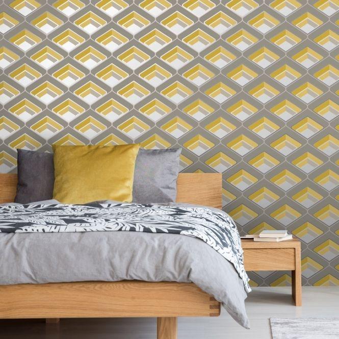 Retro Geometric 3d Effect Wallpaper Mustard Grey Feature Wall Bedroom Wallpaper Uk Geometric Wallpaper