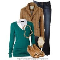 Fashionista Trends - Part 2  v-neck sweater, collared blouse, tweed blazer