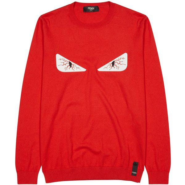 Fendi Tired Eyes Red Cotton Blend Jumper - Size 38 ($655) ❤ liked on Polyvore featuring men's fashion, men's clothing, men's sweaters and mens red sweater
