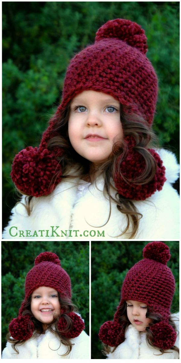 The Anastasia Hat - Crochet Pattern Fun & whimsical…baby will enjoy all her winter outings in warmth & style! Big, fluffy pom poms create an adorable and versatile hat! A quick & easy pom pom hat crochet pattern!