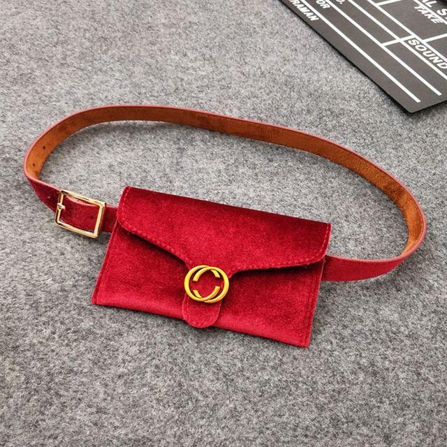 2e62d637758b New Velvet Waist Bag Women Money Belt Leather Fashion Women Waistbag ...
