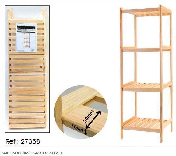 Scaffalatura in legno 4 scaffali color faggio 35 X 38 X 119 cm cod. 27358