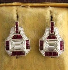 Ruby and Diamond Art Deco Earrings