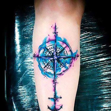 Watercolor Nautical Star Tattoo Idea