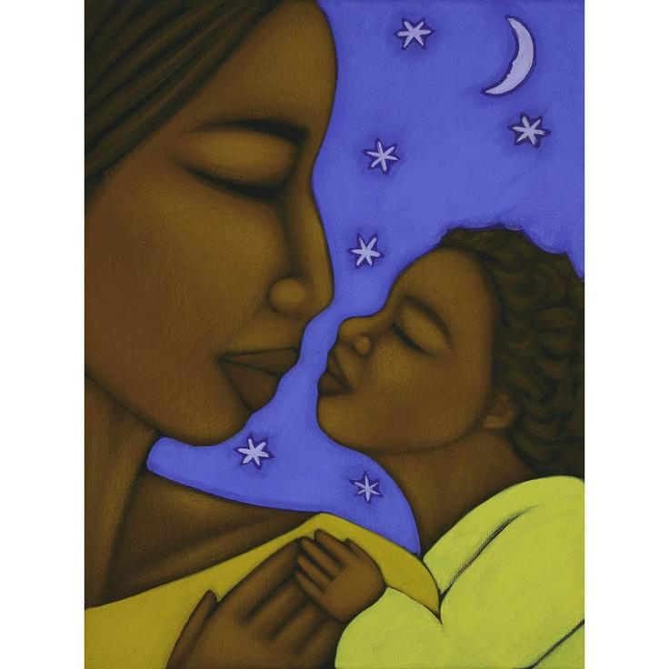 Mother and Child Moon and Stars Ethnic Print of Folk Art Original Painting By Tamara Adams. $16.00, via Etsy.