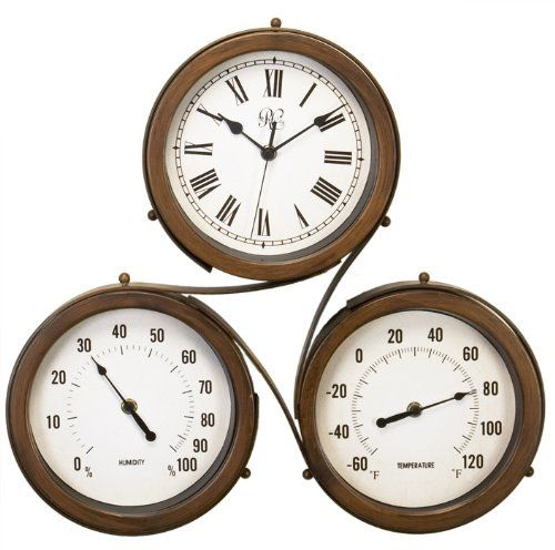 Outdoor Clocks River City Clocks 18 Inch Indoor/Outdoor Triple Dial Clock  With Time,