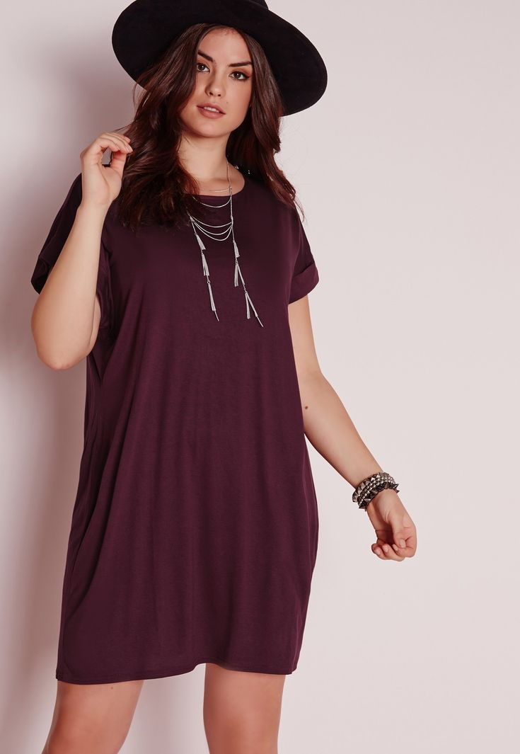 Missguided - Plus Size T-Shirt Dress Purple